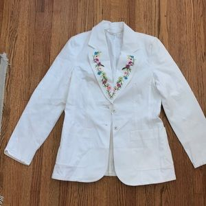 Escada embroidered floral blazer cruise resort  36